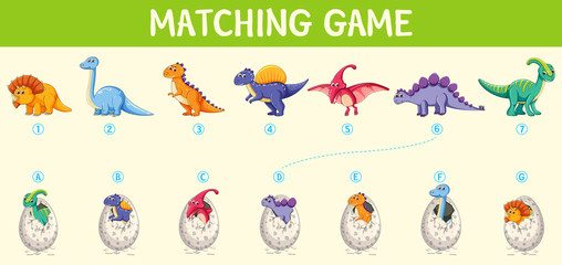 Matching dinosaur number worksheet