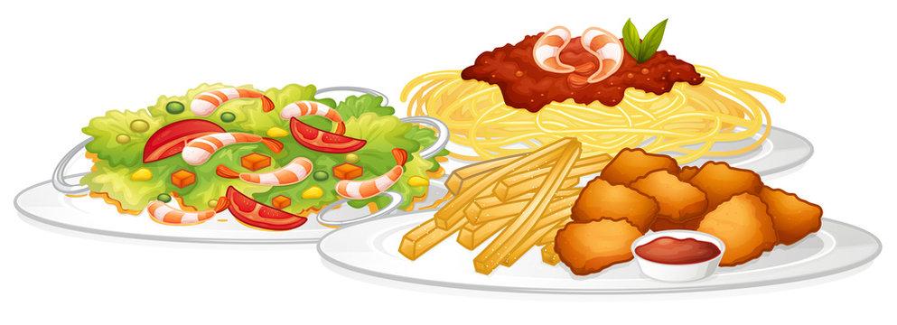 Set of food on white background