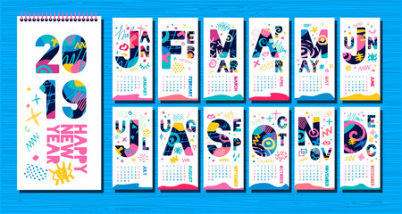 Wall Monthly Calendar template 2019. Vertical monthly calendar template, lettering typography. White background. Weeks start on sunday. Hand drawn vector elements, lettering.