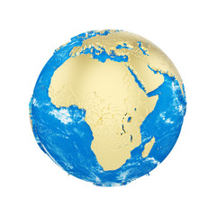Planet earth globe isolated on white background. Gold metallic continents and blue ocean. Earth day celebration.