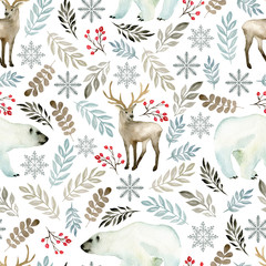 Seamless pattern with deer and bear. Watercolor hand drawn