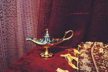 Small Antique Aladdin Lamp. Macro