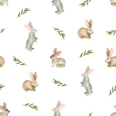 Seamless pattern with cute rabbits, Watercolor hand drawn
