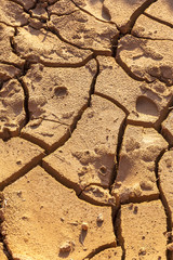Drought. Dry bottom of the lake. Dead dry land from drought. Dry fissured drought soil. The concept of drought, climate change, death without moisture. Ecology. Catastrophe. Mysticism cracked