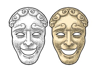 Comedy theater mask. Vector engraving vintage color illustration.