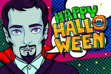Halloween illustration. Vampire with fangs and Happy Halloween Message