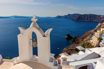 Fotobehang Cyprus Santorini, Greece. Picturesque view of traditional cycladic Santorini's church on cliff