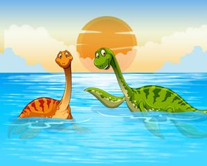 Dinosaur swimming in the ocean
