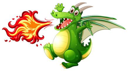 Photo Blinds Kids A green dragon fire
