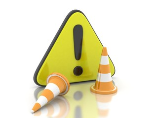 3d rendering traffic cone construction
