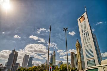 Dubai Downtown skyline of a cloudy day