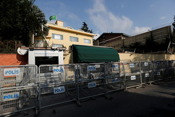 Security barriers are seen outside the Saudi Arabia's consulate in Istanbul