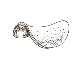 Chips Monochrome Sketch, Vector Illustration