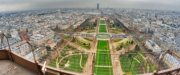 Wide angle aerial view of Paris skyline as seen from top of Eiffel Tower