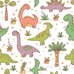Dinosaurs and prehistoric plants. Vector seamless pattern in doodle and cartoon style. Hand drawn.
