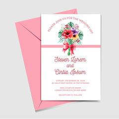 wedding invitation watercolor floral bouquet
