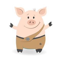 Simpe cartoon pig with the smilling face, which wants hugs. Vector illustration isolated on a white background.