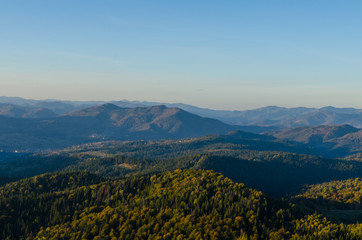 Carpathian mountains in sunny day in the autumn season