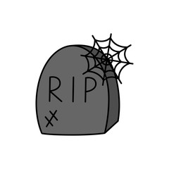 Hand drawn spooky gravestone vector illustration. Halloween, death themed, old, broken, grey tombstone with rip writing and spider web, isolated.