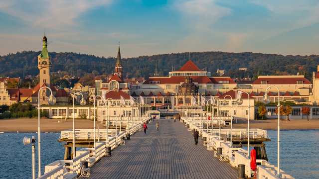The Sopot Pier and beautiful cityview/cityscape of Sopot, Poland. Amazing sunrise.