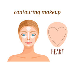 Makeup template of female face in the shape of a heart. Highlighting and shading of face. An example of contouring. Vector.