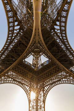 Low angle view of Eiffel Tower during sunset