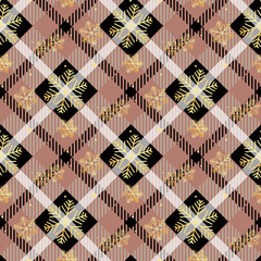 Golden snowflakes seamless on dark tartan fabric texture diagonal pattern seamless vector illustration
