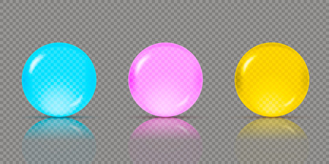 Three realistic transparent spheres or balls in different shades of blue, pink and yellow green colors with reflections. Vector illustration eps10