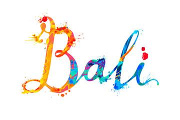 Bali. Hand written word of splash paint