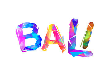 Bali. Word of colorful triangular letters