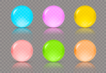 Set of six realistic transparent spheres or balls in different colors of blue, pink, yellow, red, green and orange colors with reflections. Vector illustration eps10