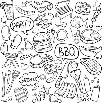 BBQ Party Traditional Doodle Icons Sketch Hand Made Design Vector