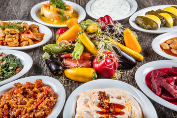 Turkish Cuisine Cold Appetizers (appetizers with olive oil)