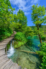 Poster Bos rivier PLITVICE NATIONAL PARK, CROATIA - JUNE 8, 2018: Tourist group by the lake in the Plitvice Lakes National Park.