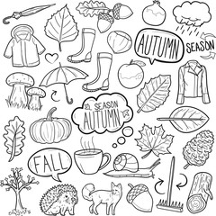 Autumn Fall Season Traditional Doodle Icons Sketch Hand Made Design Vector