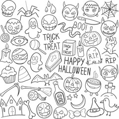 Halloween Party Traditional Doodle Icons Sketch Hand Made Design Vector
