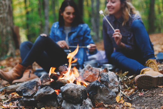 Two young girls girlfriends roasting sweet marshmallow on a fire in the evening in the autumn forest.