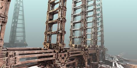 Absract construction. 3D fractal art.