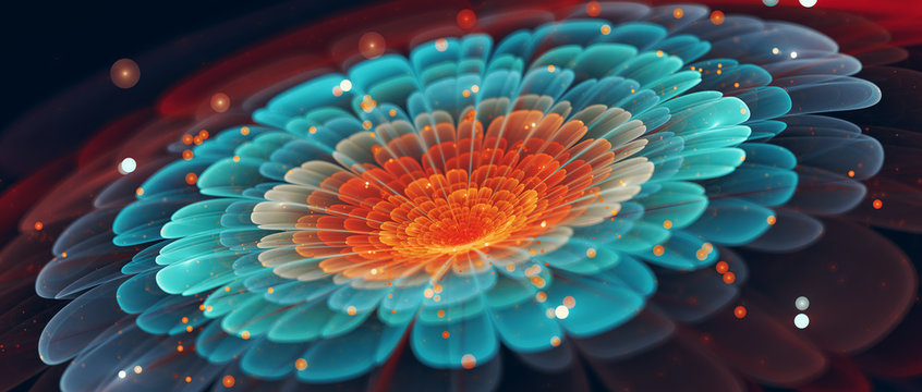 Colorful flower banner in cinematic style abstract background