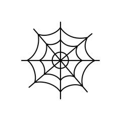 Cute hand drawn spider web vector illustration. Halloween themed, black cobweb icon, isolated.