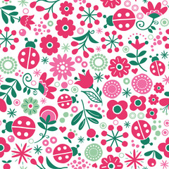 Seamless floral retro vector pattern - hand drawn vintage Scandinavian style textile design with red and green flowers and ladybirds on white