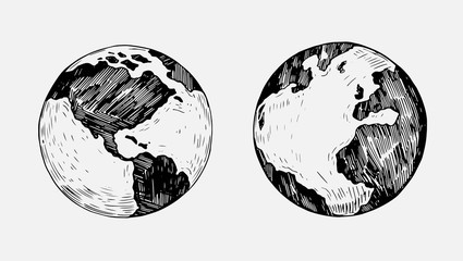 Sketch of planet Earth. Hand drawn illustration converted to vector