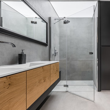 Bathroom with cabinet and shower