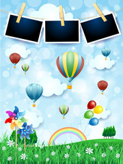 Spring landscape with hot air balloons, pinwheels and photo frames