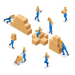 Isometric collection of workers in a warehouse of a man and a woman in uniform with cardboard boxes, work of a warehouse and delivery service