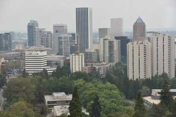 Aerial view of Portland, Oregon, from the Oregon Health & Science University tram
