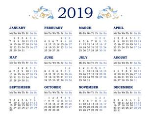 Vector calendar for 2019 on white background.