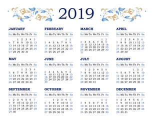 Vector calendar for 2019 on white background.