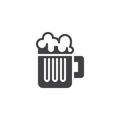 Beer mug vector icon. filled flat sign for mobile concept and web design. Glass of beer simple solid icon. Symbol, logo illustration. Pixel perfect vector graphics