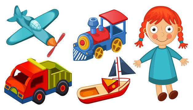 Kids toys isolated on white background vector illustration